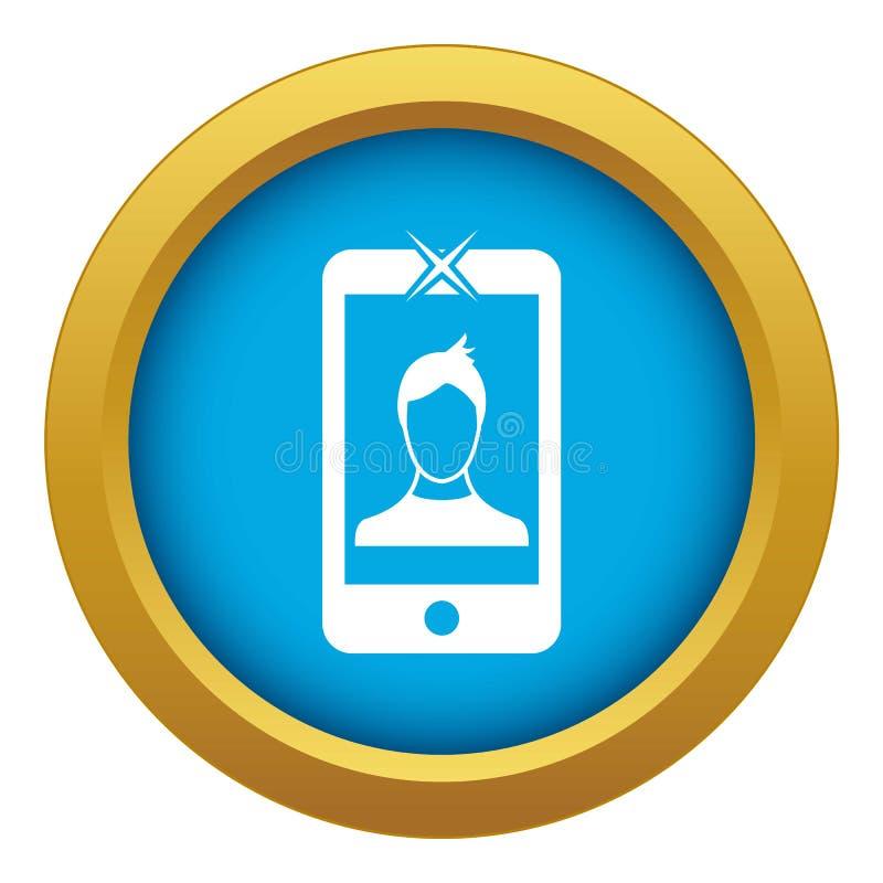 Telefone celular com vetor azul do ícone da foto isolado ilustração do vetor