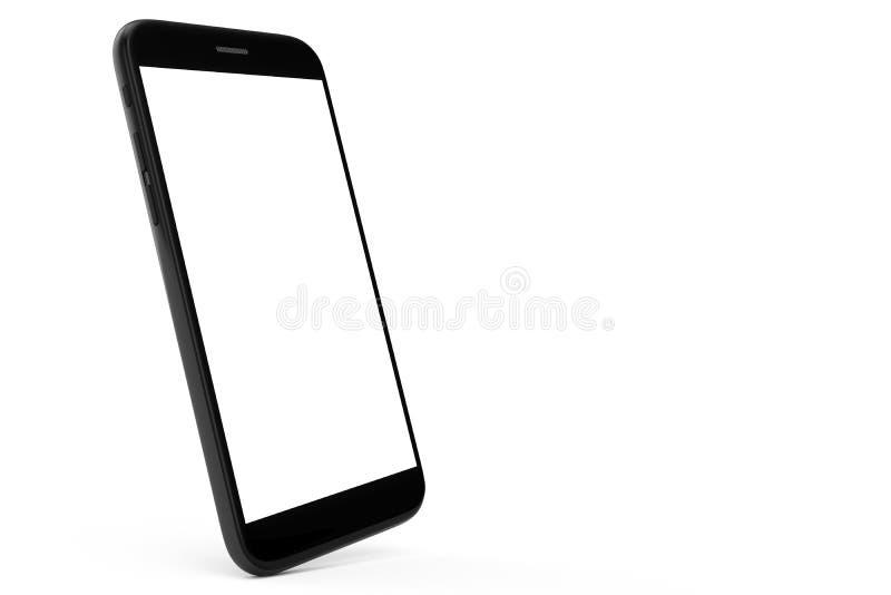 telefone celular da ilustração 3D isolado no fundo branco Telefone com espaço vazio, telefone de tela ilustração royalty free