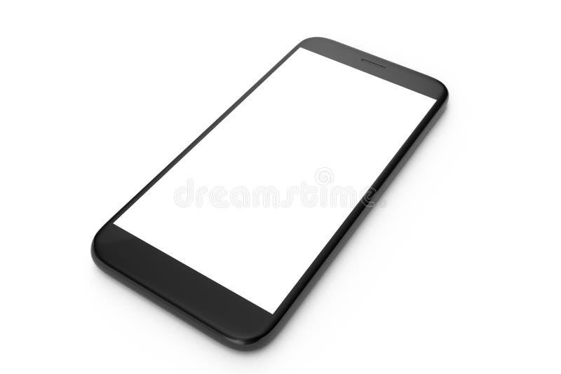 telefone celular da ilustração 3D isolado no fundo branco Telefone com espaço vazio, telefone de tela ilustração stock