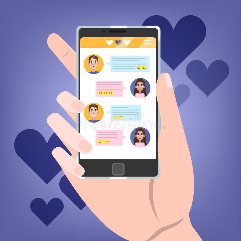 Telefone celular da terra arrendada da mão com bate-papo do amor na tela ilustração royalty free