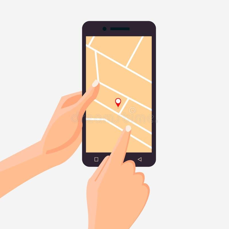 Telefone celular da terra arrendada da mão com mapa e marcador App da navegação com o mapa no smartphone r Vetor liso ilustração royalty free
