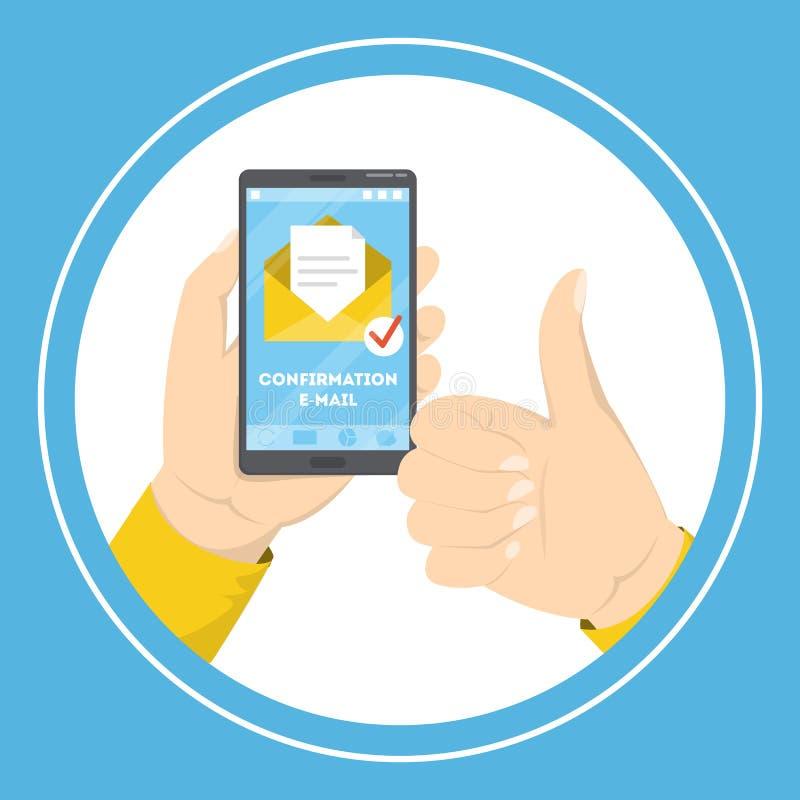 Telefone celular da terra arrendada da mão com um e-mail da confirmação ilustração royalty free