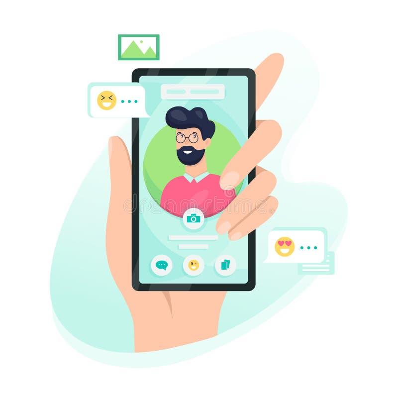 Telefone celular da terra arrendada da m?o com avatar da pessoa na tela ilustração royalty free