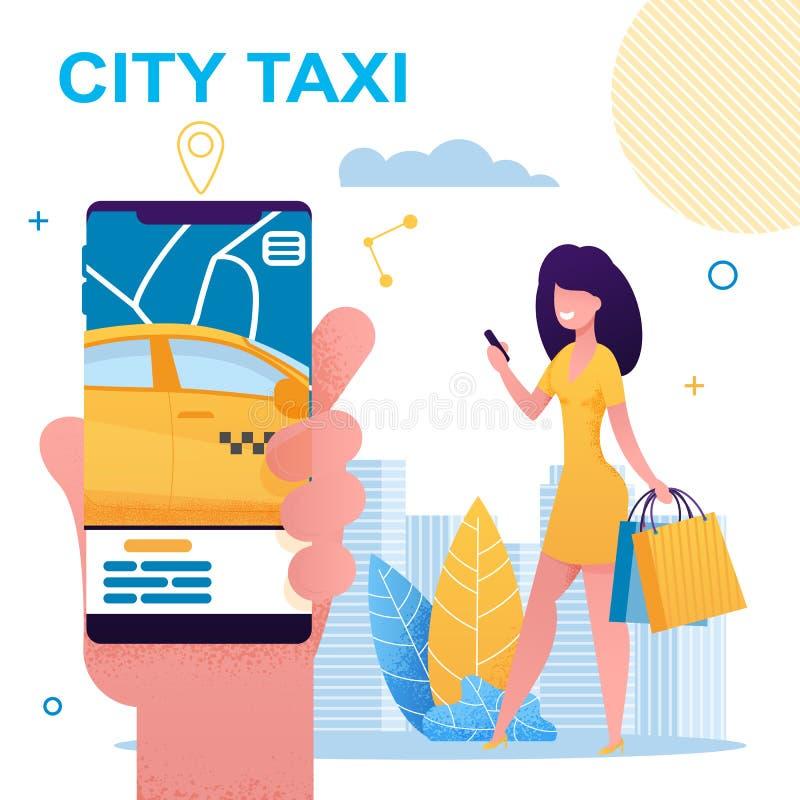 Telefone celular da terra arrendada da menina com o App do táxi da cidade ilustração royalty free