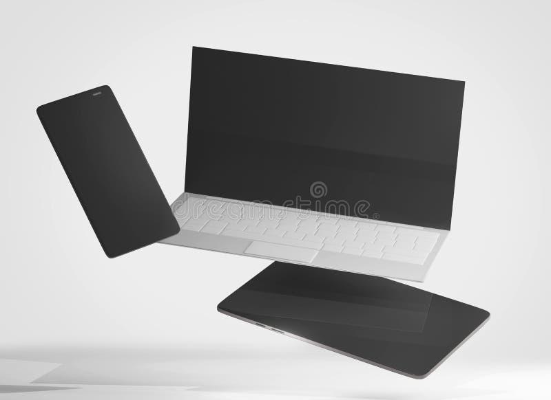 Telefone celular do caderno do portátil e tablet pc 3d-illustration ilustração do vetor