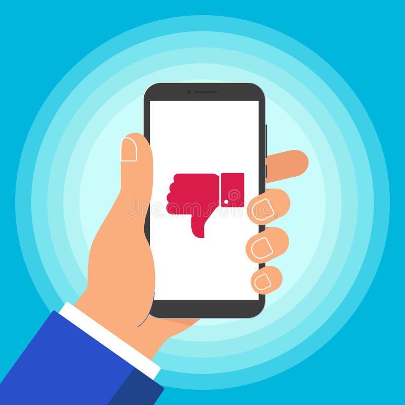 Telefone celular do preto da terra arrendada da mão isolado no fundo azul ilustração do vetor