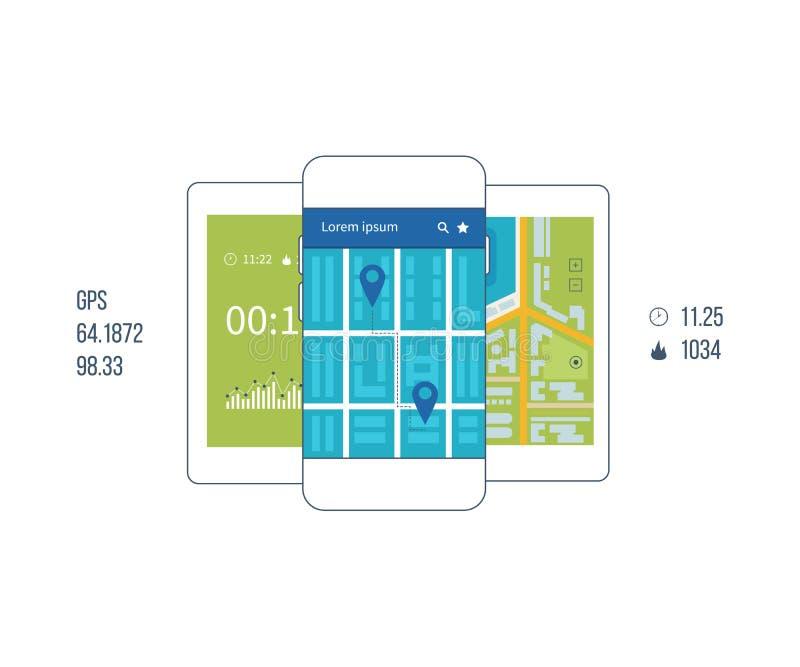 Telefone celular do vetor - conceito do app da aptidão no écran sensível ilustração stock