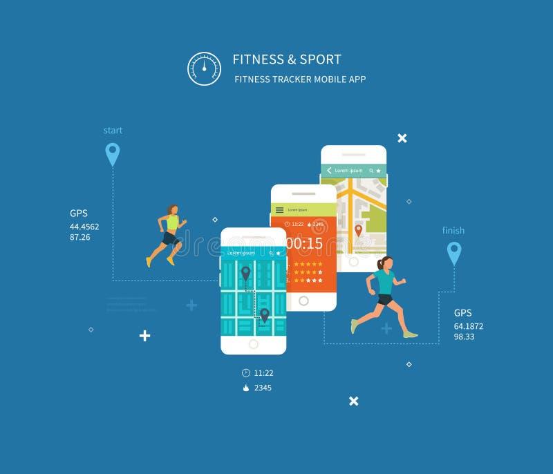 Telefone celular do vetor - conceito do app da aptidão sobre ilustração royalty free
