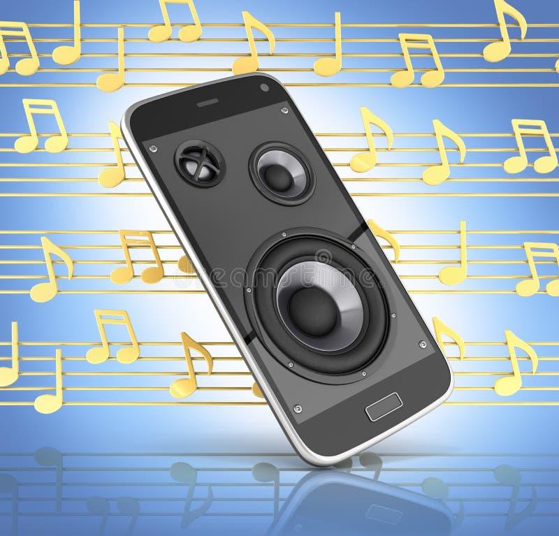 Telefone celular e altifalante musicais do app da música do telefone celular do smartphone com notas no fundo azul 3d do inclinaç ilustração do vetor