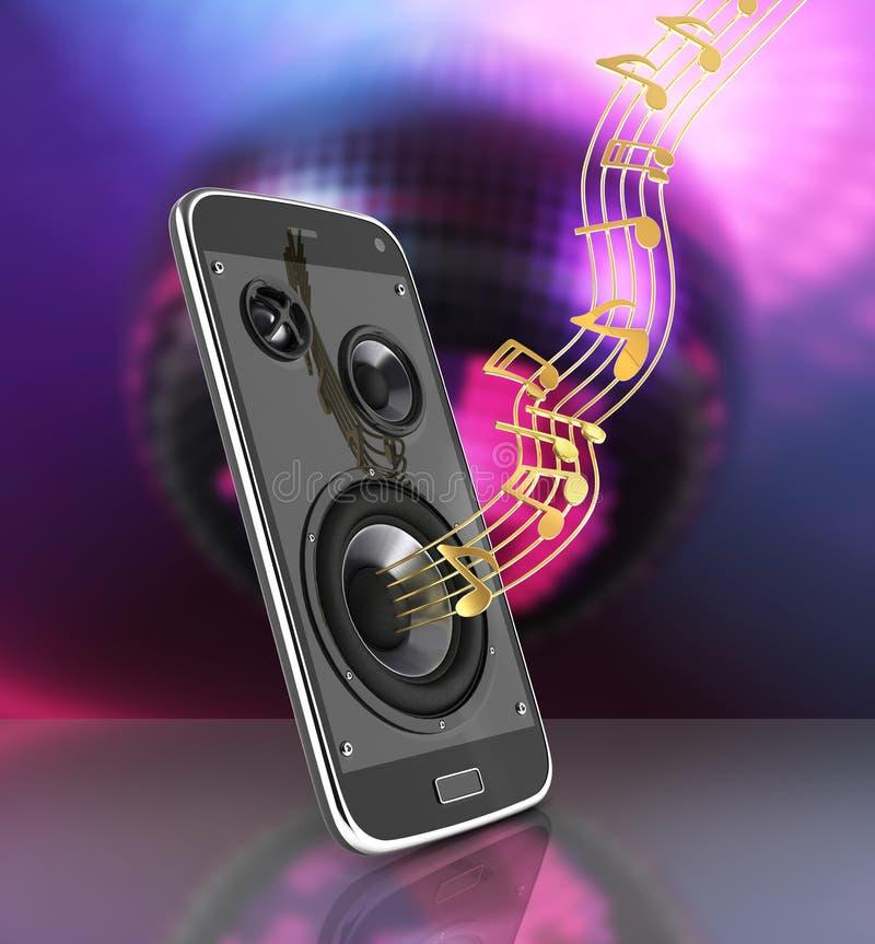 Telefone celular e altifalante musicais do app da música do telefone celular do smartphone com notas no fundo 3d da bola do disco ilustração stock