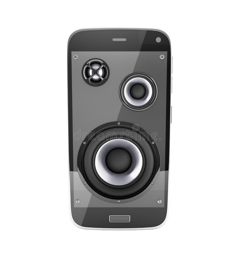 Telefone celular e altifalante musicais do app da música do telefone celular do smartphone com notas sem sombra no fundo branco  ilustração stock