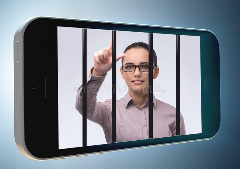 Telefone celular e conceito social do apego dos meios fotos de stock