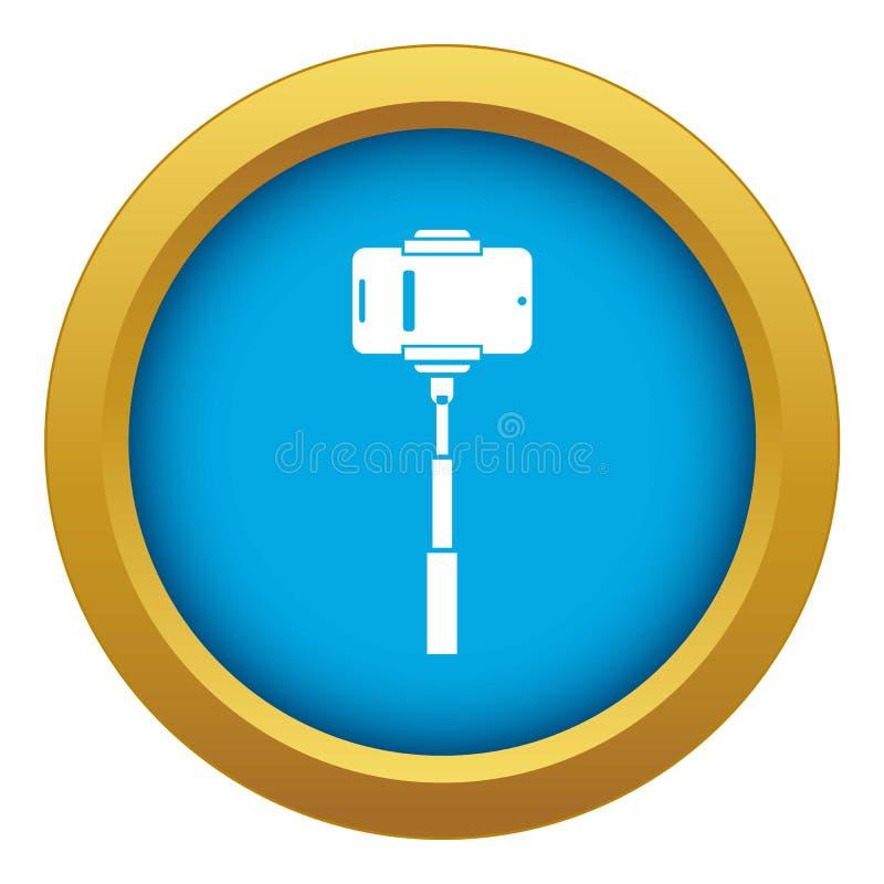 Telefone celular em um vetor azul do ícone da vara do selfie isolado ilustração royalty free