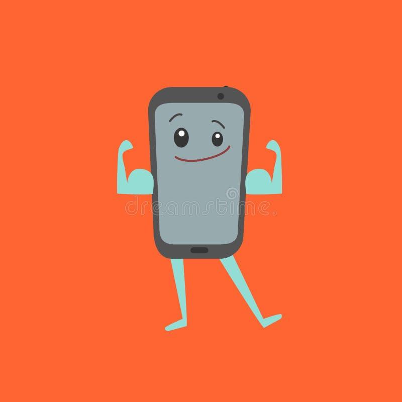 Telefone celular forte de Smartphone do personagem de banda desenhada Vetor ilustração do vetor