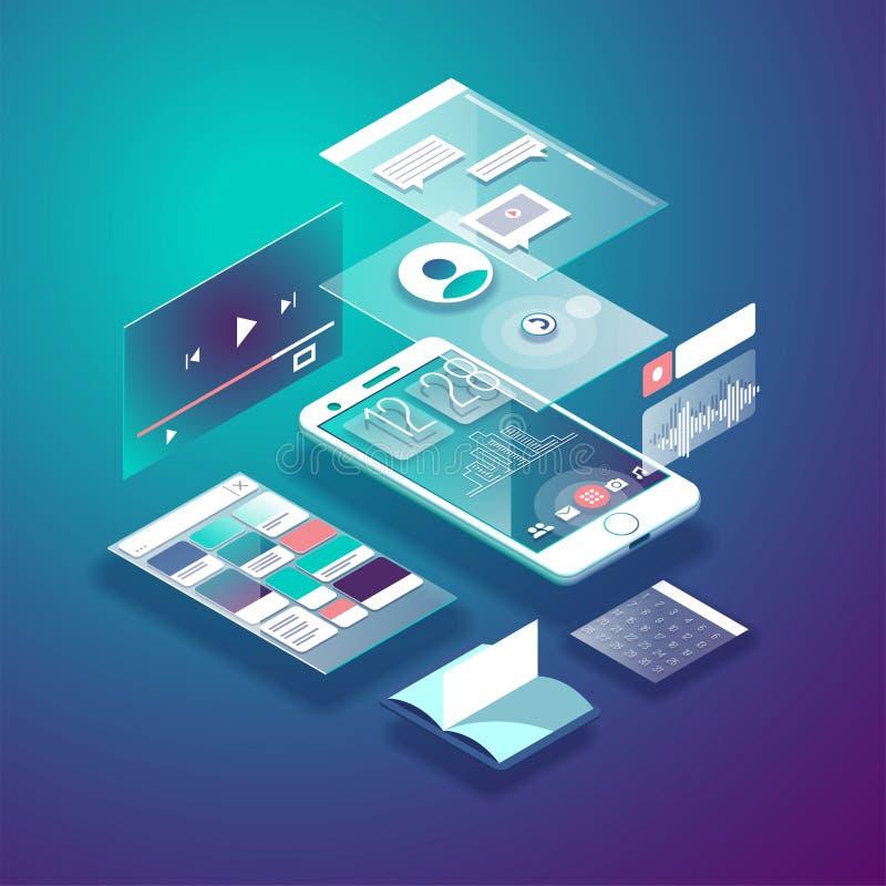 Telefone celular isométrico Relação esperta e simples da Web com apps e ícones diferentes ilustração do vetor 3d ilustração do vetor