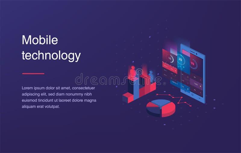 Telefone celular isométrico Relação esperta e simples da Web com apps e ícones diferentes vetor 3d Bandeira da Web com portátil ilustração stock