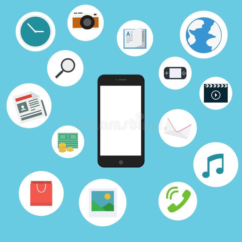 Telefone celular liso com ícones do entretenimento ilustração do vetor