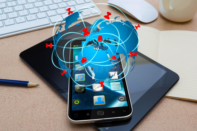 Telefone celular moderno com aplicação do ícone do curso ilustração royalty free