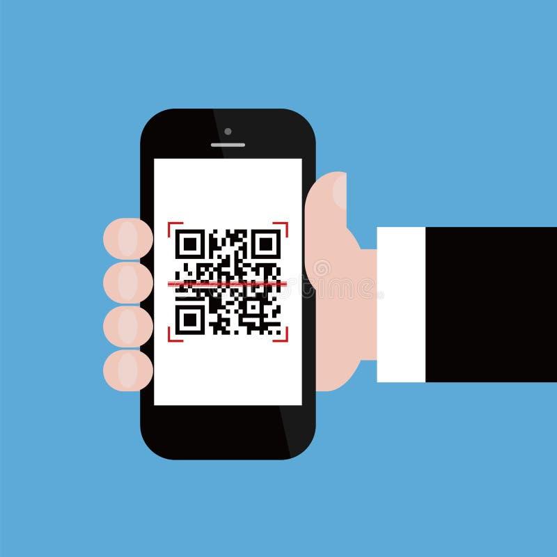 Telefone celular no código do qr da exploração da mão do homem de negócios ilustração do vetor