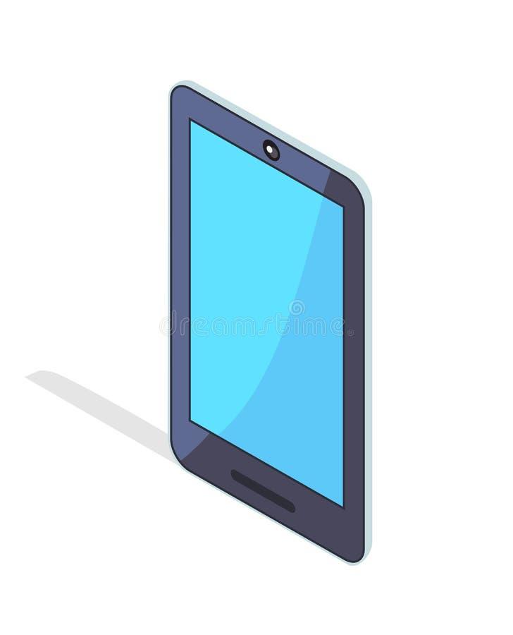 Telefone celular portátil de Smartphone no projeto isométrico ilustração stock