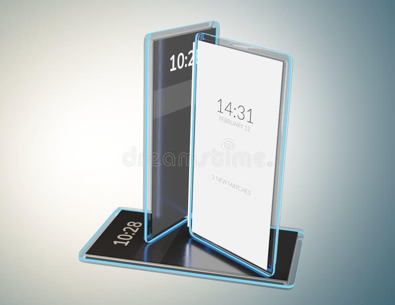 Telefone celular transparente translúcido 3d-illustration ilustração stock
