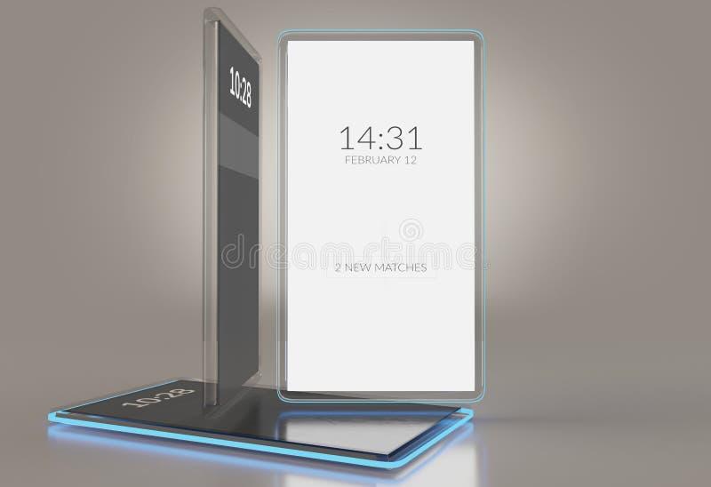 Telefone celular transparente translúcido 3d-illustration ilustração do vetor