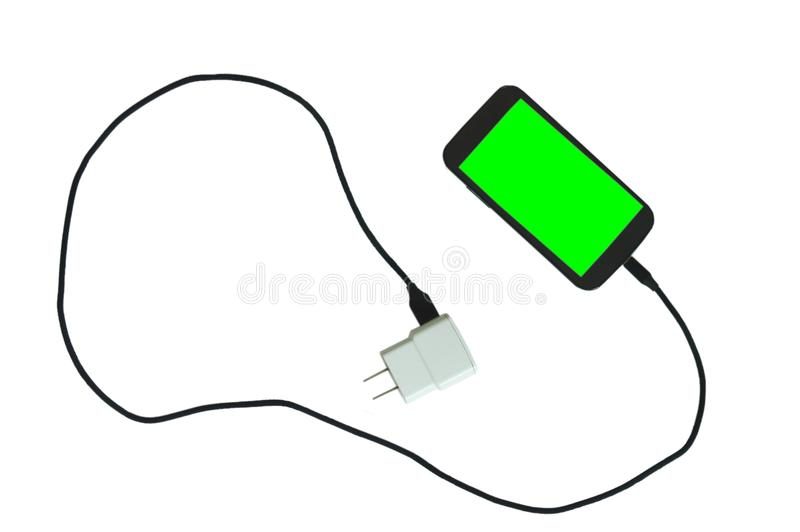 Telefone celular verde da tela cortante na bateria recarregável com cabo preto da tela no fundo branco fotografia de stock