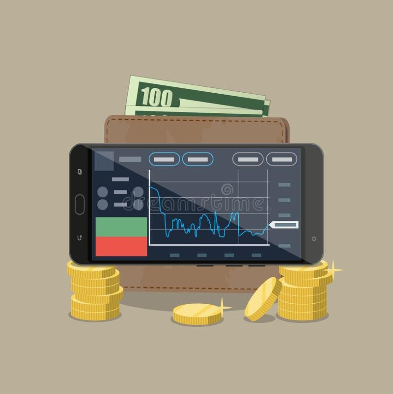 Telefone com aplicação de troca moedas carteira ilustração stock