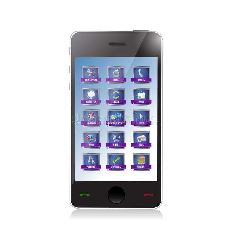 Telefone com apps ou projeto da ilustração dos botões ilustração stock