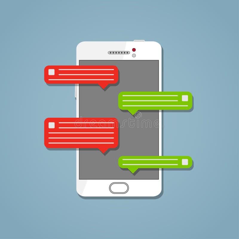 Telefone com mensagem no estilo branco ilustração stock
