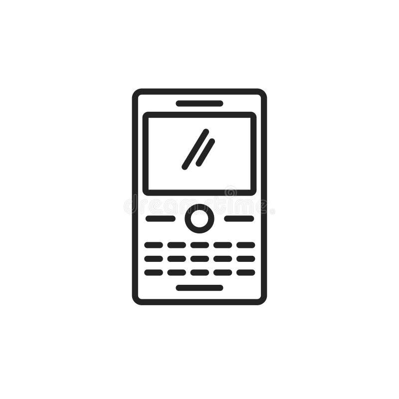Telefone com vetor do ícone do teclado dos botões, linha smartphone com botões, clipart isolado símbolo do esboço da arte do tele ilustração royalty free
