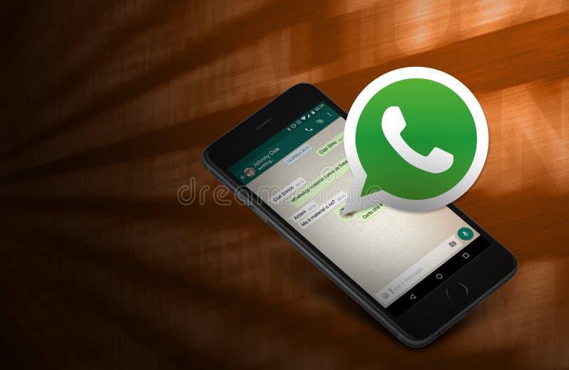 Telefone, conexão do whatsapp fotografia de stock