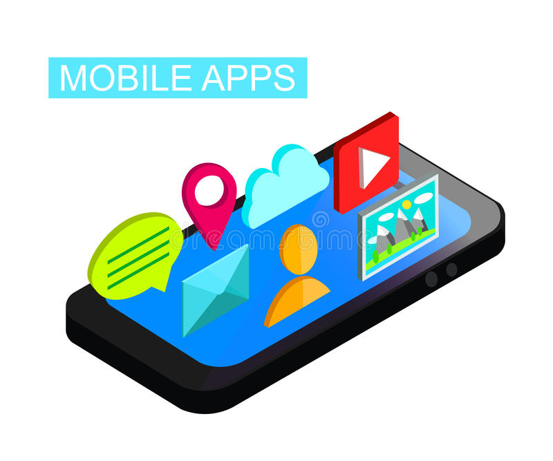 Telefone 3d isométrico liso com conceito do desenvolvimento da interface de utilizador Projeto móvel do mercado de Apps Ilustraçã ilustração royalty free