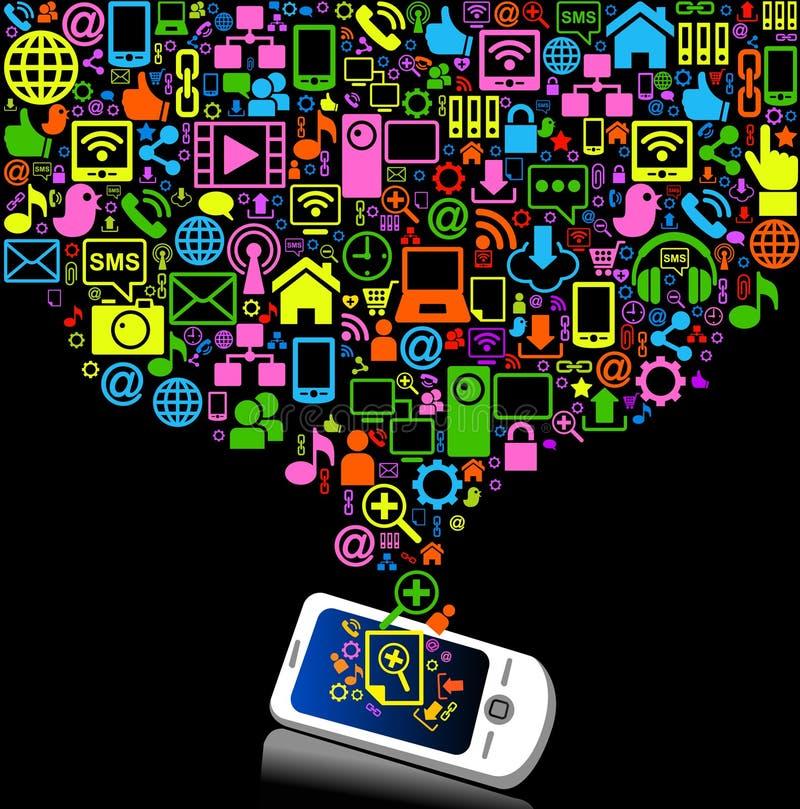 Telefone da conexão dos desenhos animados ilustração royalty free