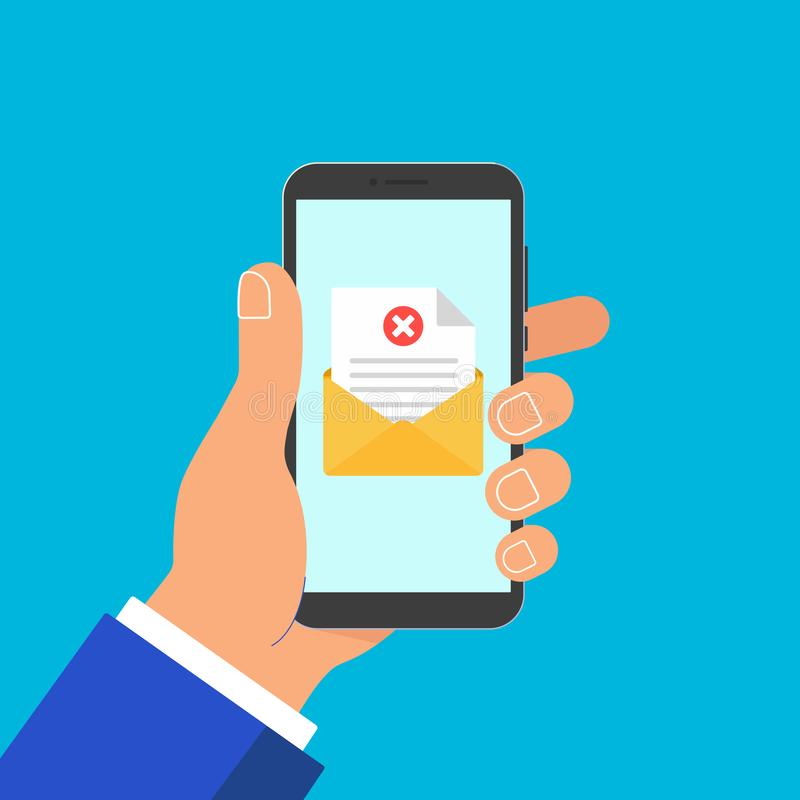 Telefone da posse da mão com cruz da marca de verificação da página da folha do papel do documento do envelope, ilustração do vet ilustração stock