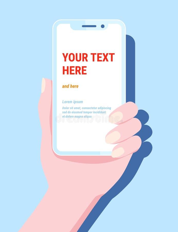 Telefone da preensão da mão Telefone celular do smartphone do vetor, app móvel do projeto do molde, cores azuis, estilo liso na m ilustração do vetor