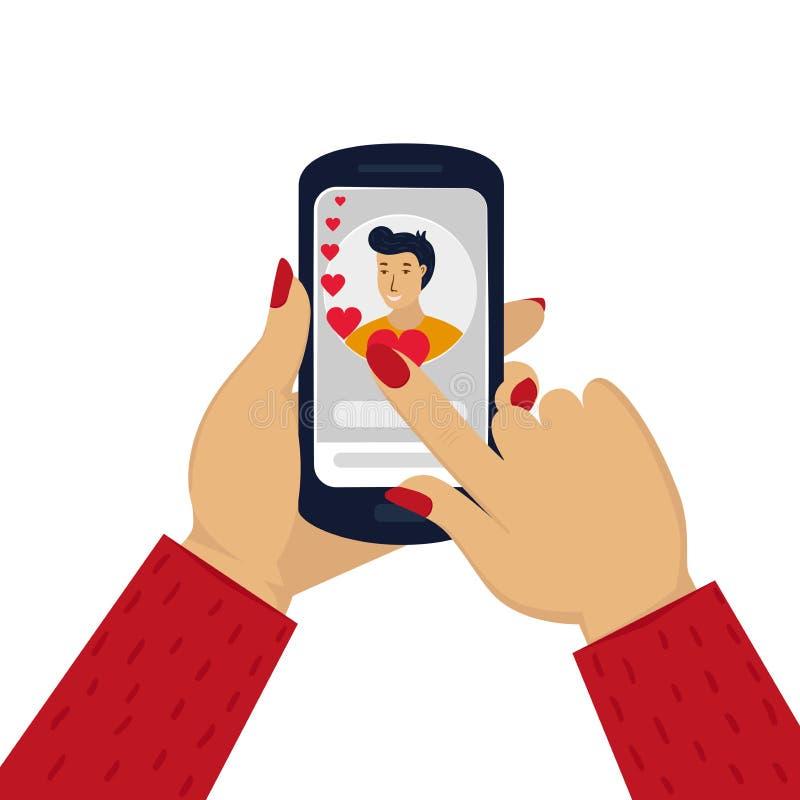 Telefone da terra arrendada da mão das mulheres com com um retrato do homem Bate-papo em linha do amor no Internet Local datando  ilustração royalty free