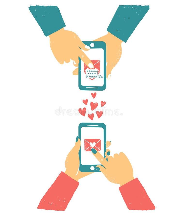 Telefone da terra arrendada da mão dos homens e das mulheres com correios do amor Bate-papo em linha do amor no Internet Como a t ilustração stock