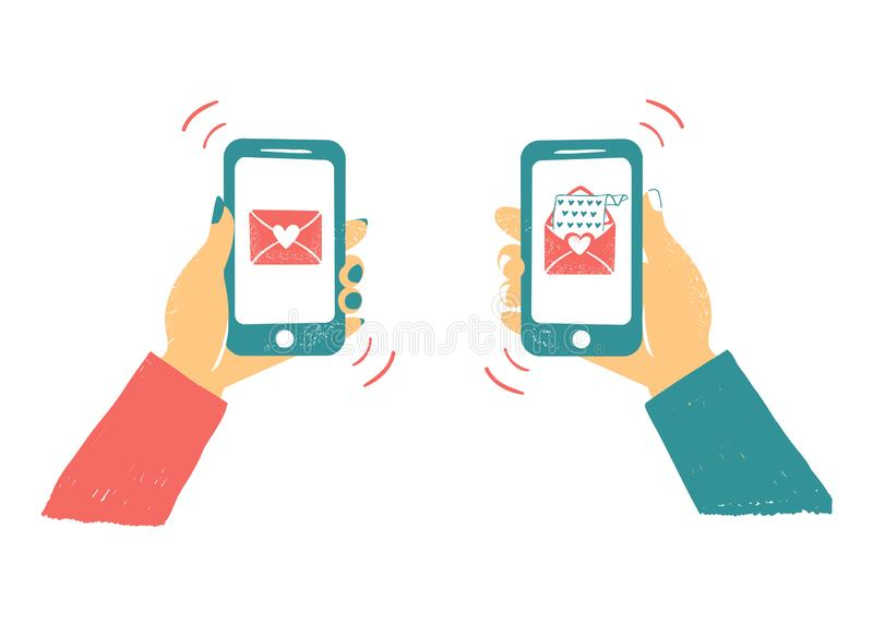 Telefone da terra arrendada da mão dos homens e das mulheres com correios do amor Bate-papo em linha do amor no Internet Como a t ilustração do vetor