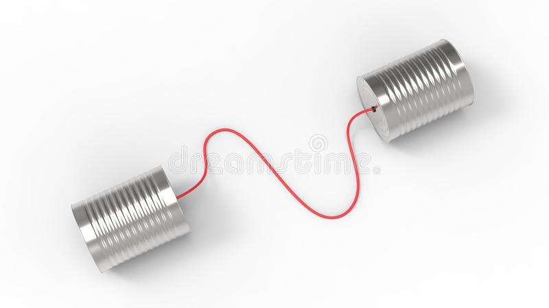 Telefone das latas de lata isolado no fundo branco 3D que ilustra fotografia de stock royalty free