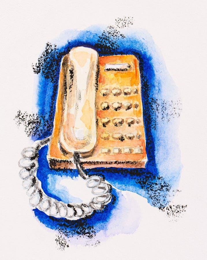 Telefone de botão de pressão alaranjado no azul fotos de stock royalty free