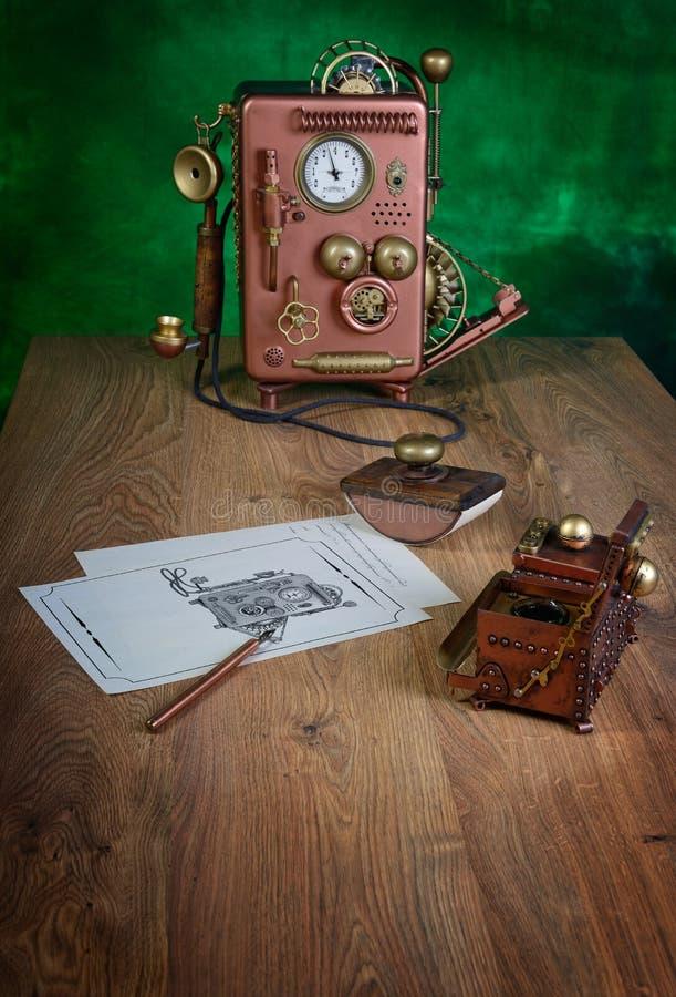 Telefone de cobre. foto de stock royalty free