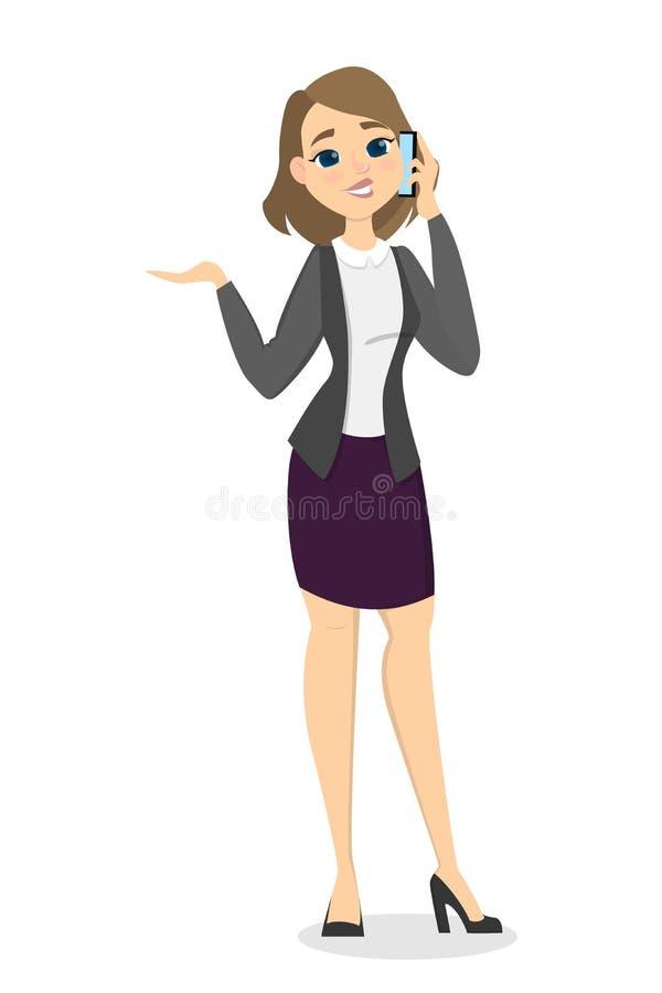 Telefone de fala da mulher ilustração stock