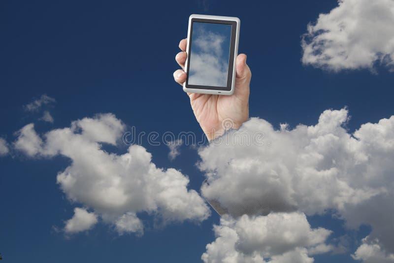 Telefone de pilha nas nuvens imagem de stock royalty free