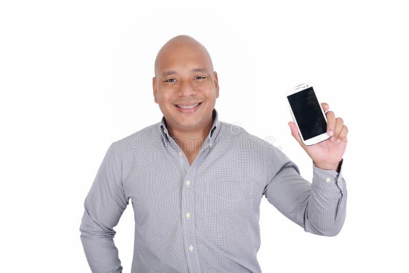 Telefone de Showing His Cell do homem de negócios foto de stock