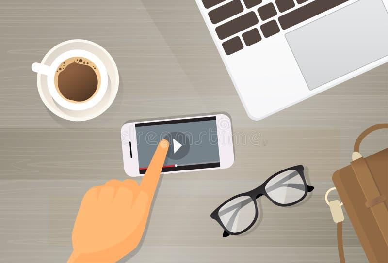 Telefone de Smart da pilha da aplicação da vídeo ilustração do vetor