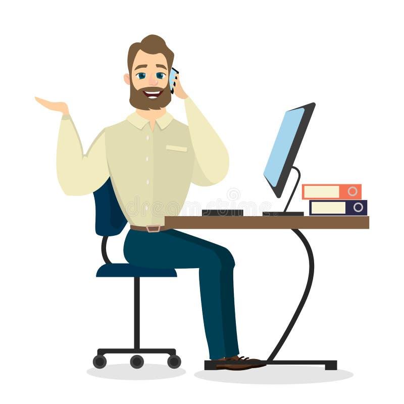 Telefone do homem de negócios chamada ilustração royalty free
