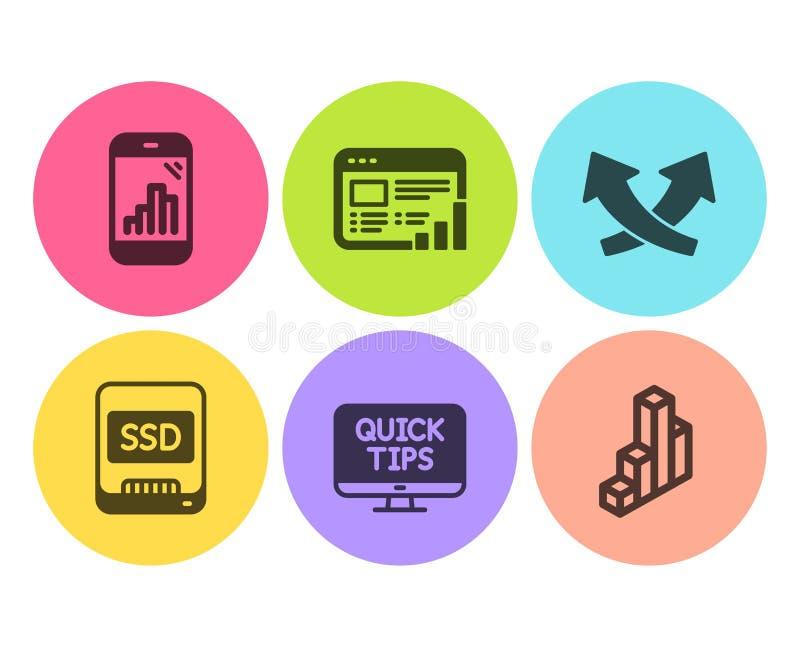 Telefone do Ssd, do gráfico e de cursos da Web grupo dos ícones Setas da interseção, relatório da Web e sinais da carta 3d Vetor ilustração do vetor