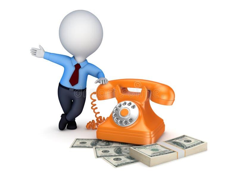 Telefone do vintage e pilha de dinheiro ilustração royalty free