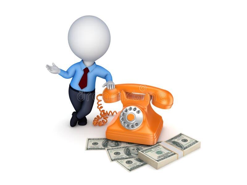 Telefone do vintage e pilha de dinheiro ilustração do vetor
